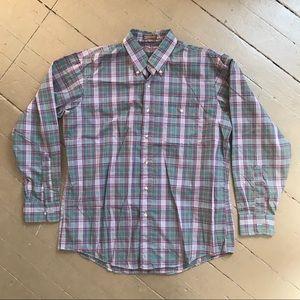 Vintage men's plaids button down shirt poly blend